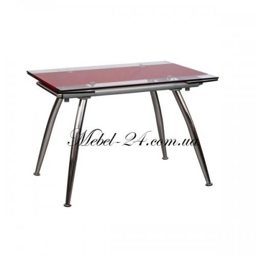 Стол В 179-3 кухонный стекло красное+хром АМФ
