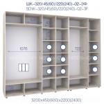 Шкаф купе ШК 320/45/22-02-3Ф с зеркалами