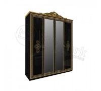 Шкаф 4Д Дженифер с зеркалами Black-Gold