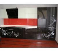 Кухня прямая фасады калёное стекло. Фурнитура hettich