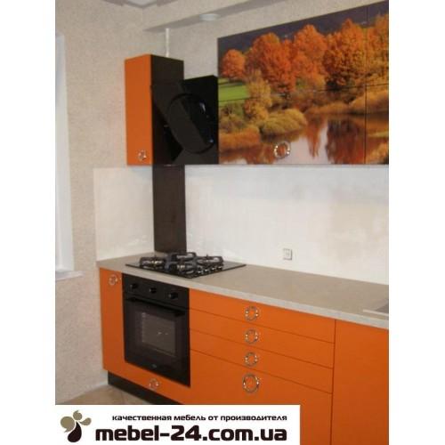 Кухня прямая под заказ, фасады калёное стекло фотопечать.